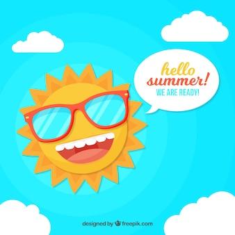 Lato tło z śmieszne słońce w stylu płaski