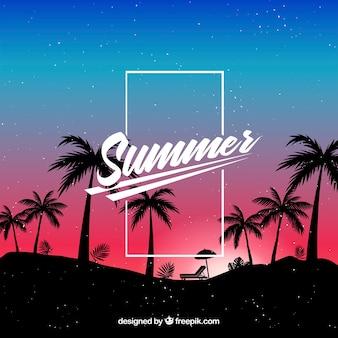 Lato tło z sylwetki drzewa palmowego w nocy