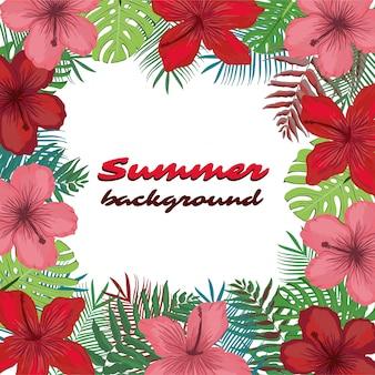 Lato tło z tropikalnymi kwiatami