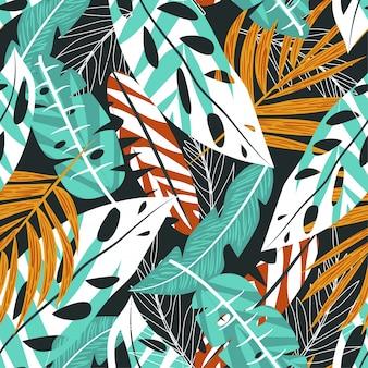 Lato trendu bezszwowy tło z jaskrawymi tropikalnymi liśćmi i roślinami