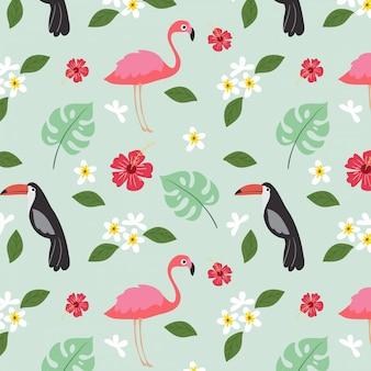 Lato tropikalna roślina i ptasi bezszwowy wzór