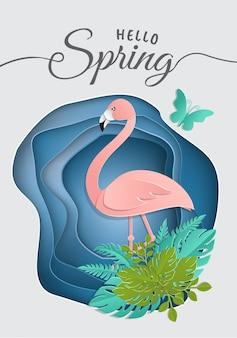 Lato tropikalne kwiaty i karta lato flamingo