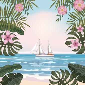 Lato tropikalny tło z egzotycznych roślin kwiatowych pozostawia palmę, żaglówkę oceanu plaży