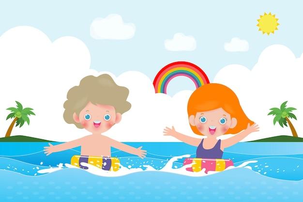 Lato uroczych dzieci w pływaniu i gumowy pierścień w morzu kreskówki dla dzieci
