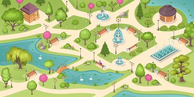 Lato w parku miejskim, izometryczne tło z drzewami, trawnikami i fontannami.
