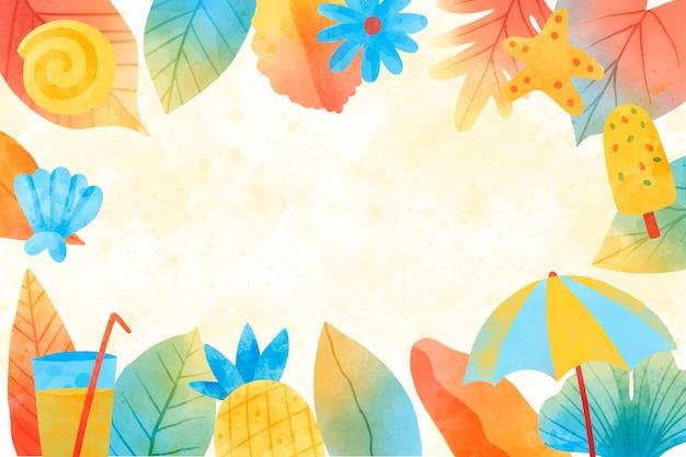 Lato w tle akwarela
