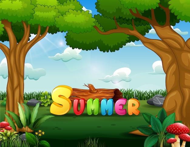 Lato w tle z zielonym parkiem