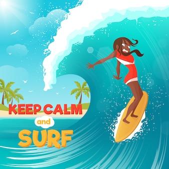 Lato wakacje surfing płaski kolorowy plakat