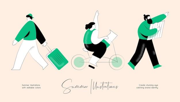 Lato wektor kolorowy zestaw ilustracji aktywności ludzi dla tożsamości marki lub projektowania stron internetowych