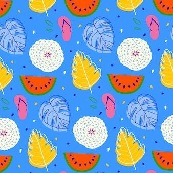 Lato wzór z arbuzem i liśćmi