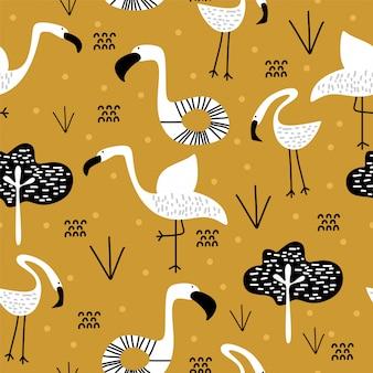 Lato wzór z ślicznym flamingo skandynawskim rysunkiem