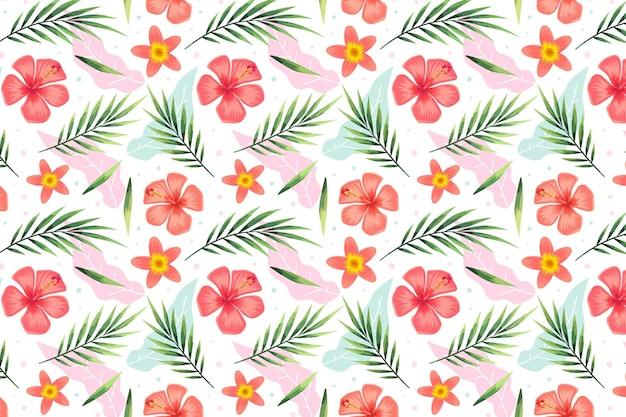 Lato wzór z tropikalnymi kwiatami