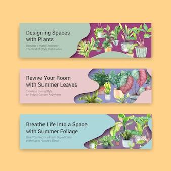 Lato zasadza sztandaru szablonu projekta broszurkę, ulotkę, reklamuje i broszury akwareli ilustrację