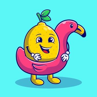 Lato ze słodką cytryną na pływaku flamingo flat