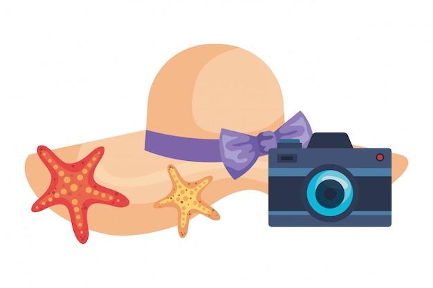 Lato żeński kapelusz z kamerą i rozgwiazdą