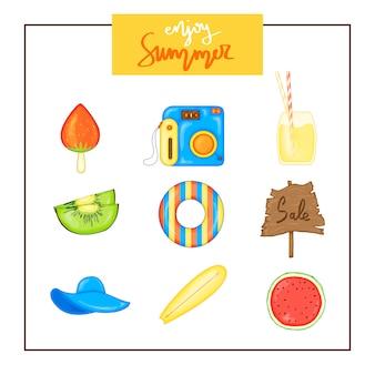 Lato zestaw przedmiotów na białym tle. podróże, plaża i pyszne jedzenie.
