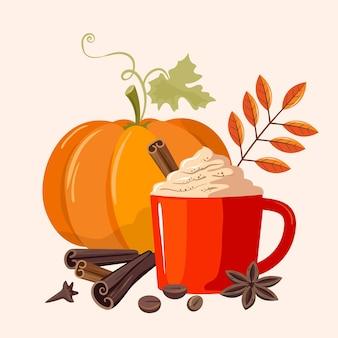 Latte z przyprawami dyni. duża dynia i pachnący pikantny napój w kubku. pyszna ilustracja jesień.