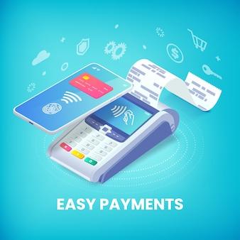Łatwa płatność zbliżeniowa za pomocą koncepcji izometrycznego banera na smartfonie. 3d maszyna płatnicza i telefon komórkowy z kartą kredytową i odciskami palców na ekranie. ilustracja transakcji płatności nfc
