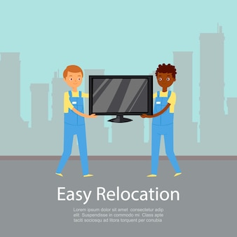 Łatwa relokacja, napisy na plakatach, informacje o firmie, usługa przeprowadzkowa, ilustracja. mężczyźni niosą telewizję, dostarczają paczki, zamawiają towary w domu, dwóch facetów przynosi ładunek.