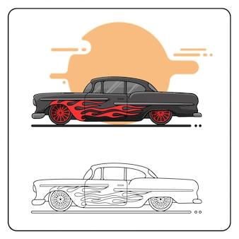 Łatwy czarny samochód retro