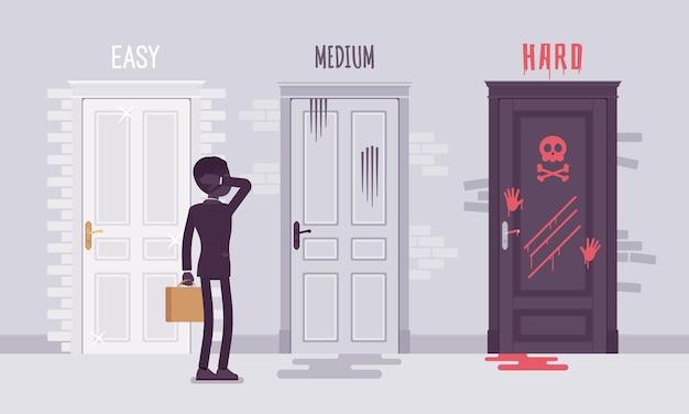 Łatwy, średni, trudny wybór dla biznesmena. menadżer zaintrygowany poziomem wyzwania biznesowego, pracownik wybiera między trzema drzwiami.
