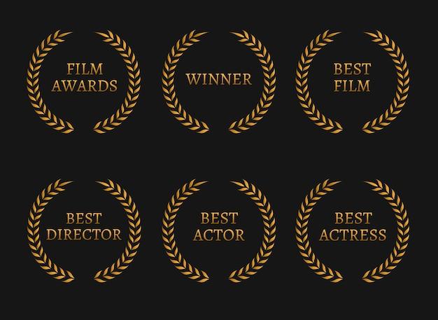 Laureaci nagród akademii filmowej i złote wieńce dla najlepszych nominowanych na czarnym tle.