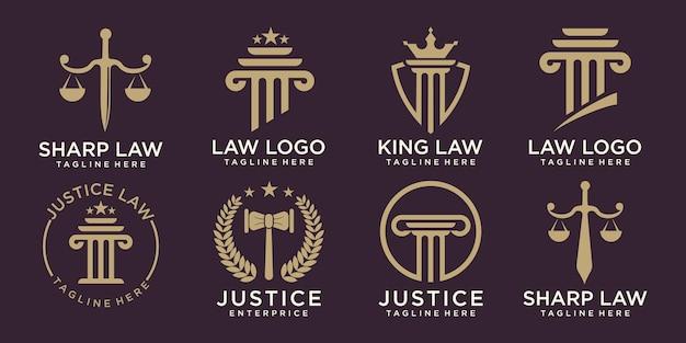 Law firm logo set elegancki projekt logo wektorowego firmy prawniczej i adwokackiej