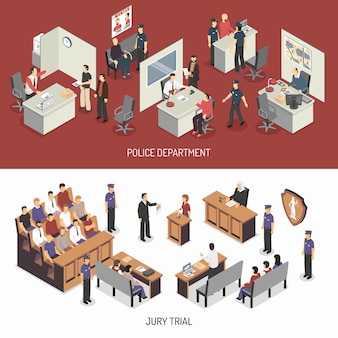 Law system isometric horizontal banners