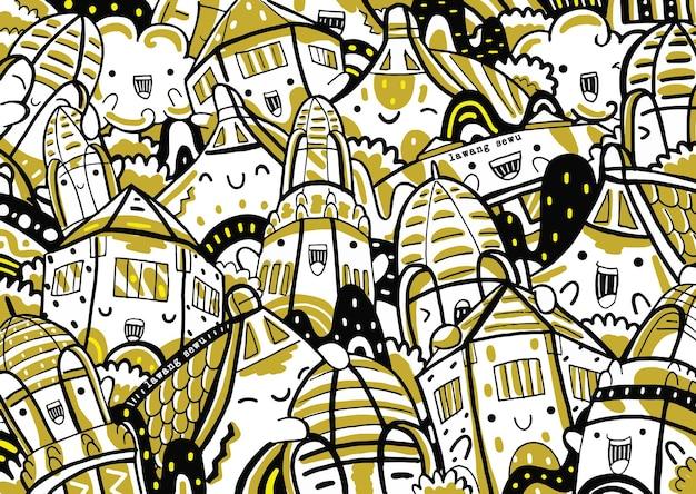 Lawang sewu doodle w stylu płaskiej konstrukcji