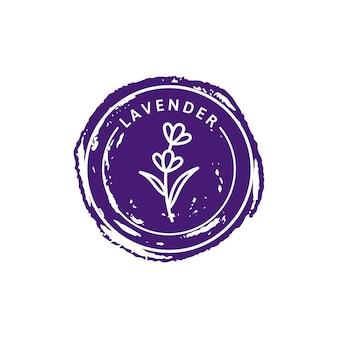 Lawendowe logo w modnym, liniowym stylu. wektor ziołowych organicznych lawendy odznaki szablonu projektu opakowania i godła. może być używany do oleju, mydła, kremu, perfum, herbaty i innych rzeczy