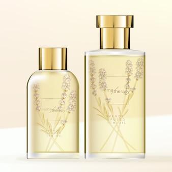 Lawendowy płyn do kąpieli lub szklane butelki z olejkami eterycznymi ze złotym wieczkiem.