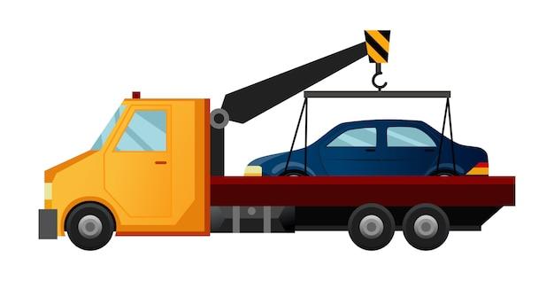 Laweta. fajna płaska ciężarówka holownicza z uszkodzonym samochodem. pojazd pomocniczy w naprawie samochodów drogowych