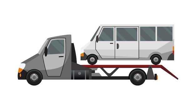 Laweta. płaski wadliwy samochód załadowany na lawetę. serwis naprawy pojazdów, który zapewnia pomoc w przypadku uszkodzonych lub uratowanych aut