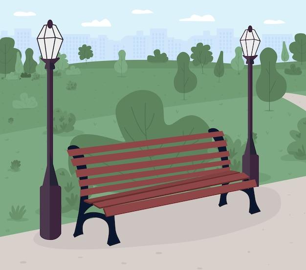 Ławka parkowa w kolorze płaskim. miejsce publiczne. relaks. park i teren rekreacyjny. miejska sceneria. słoneczny dzień na zewnątrz. krajobraz kreskówka 2d z zieloną scenerią na tle