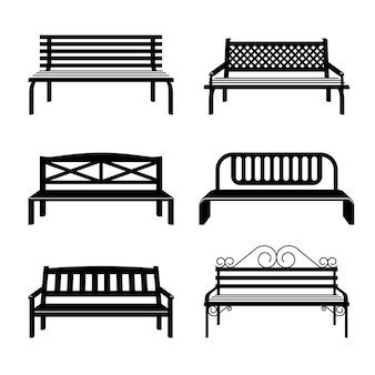 Ławki czarne sylwetki. ławka uliczna, zestaw jednobarwnych ławek miejskich