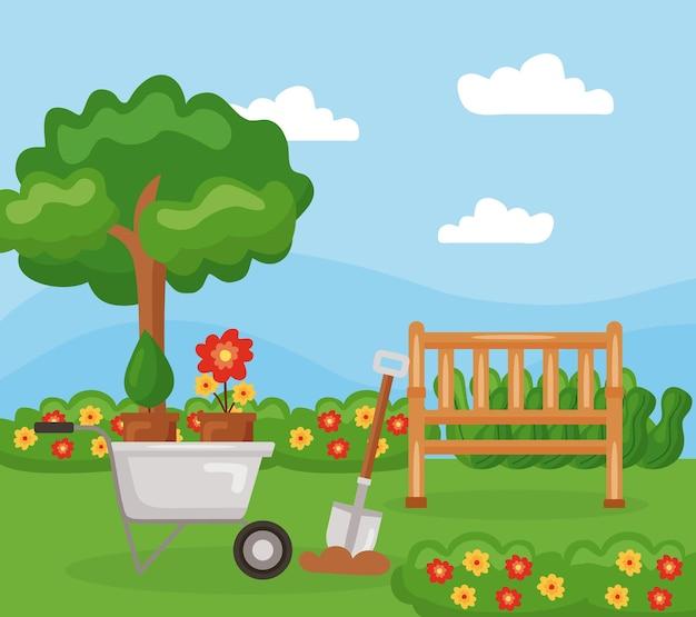 Ławkowe rośliny taczki i drzewo na ogrodowym krajobrazie