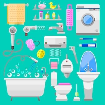 Łazienka ikony toaletowe symbole wektorowych ilustracji