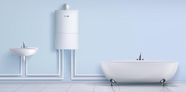 Łazienka, podgrzewacz wody, umywalka i wanna