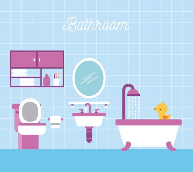 Łazienka wanna prysznic papier toaletowy gabinet i kaczka