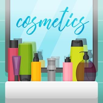 Łazienka z lustrem i kolorowymi butelkami kosmetycznymi
