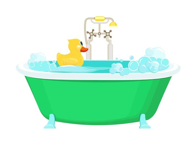 Łazienka żółta kaczka. zrelaksuj się bąbelki wody z pianki z gumową kaczką prysznicową wektorową obraz tła kreskówki. ilustracja łazienka z żółtą kaczką w piance