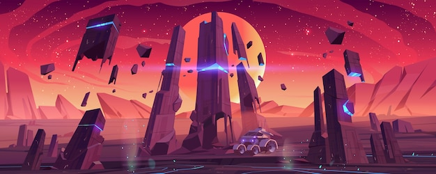 Łazik marsjański na powierzchni czerwonej planety eksploruje obcy krajobraz.