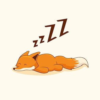 Lazy fox cartoon animals sleep