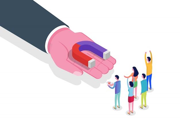 Lead generate, koncepcja izometryczna magnesu przychodzącego marketingu. ilustracja