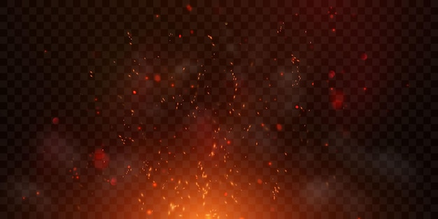Lecą iskry świecące cząsteczki i płomienie
