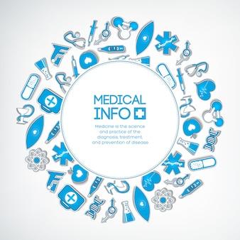 Leczenie medyczne kolorowy szablon z tekstem w okrągłej ramce i niebieskie naklejki papierowe na białym tle