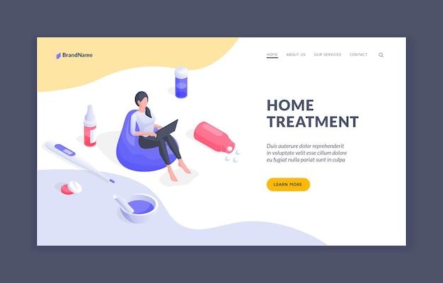 Leczenie w domu izometryczny szablon strony docelowej banera internetowego