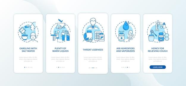 Leczenie zapalenia gardła na ekranie strony aplikacji mobilnej z koncepcjami