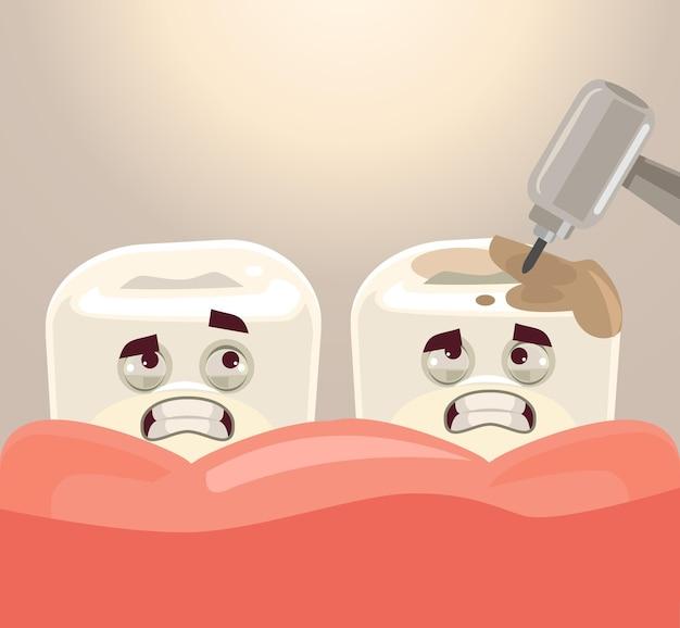 Leczenie zębów za pomocą płaskiej ilustracji kreskówki wiertła stomatologicznego