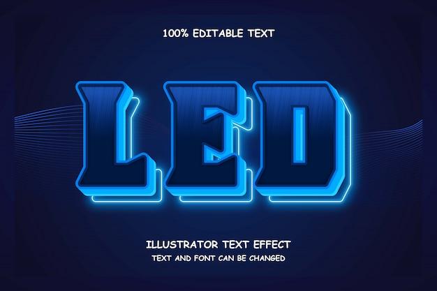 Led, edytowalny tekst 3d efekt nowoczesnego cienia neonowego stylu